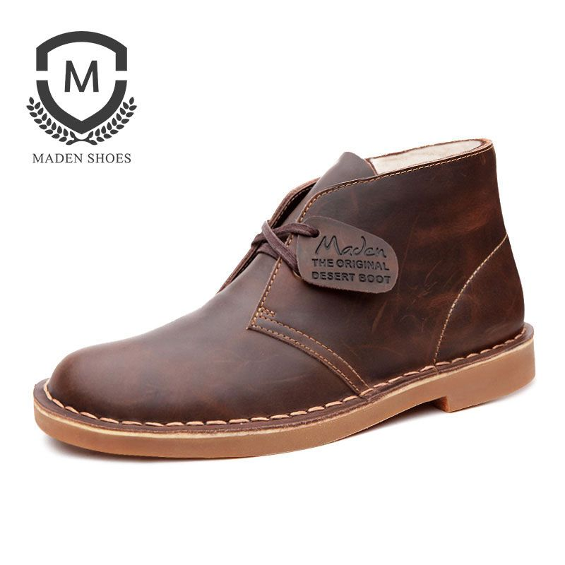 Maden Winter Warm Martin Shoes Plush Inner Breathable Vintage Snow Boots Anti-slip Split Leather Ankle Boots Men Black Brown