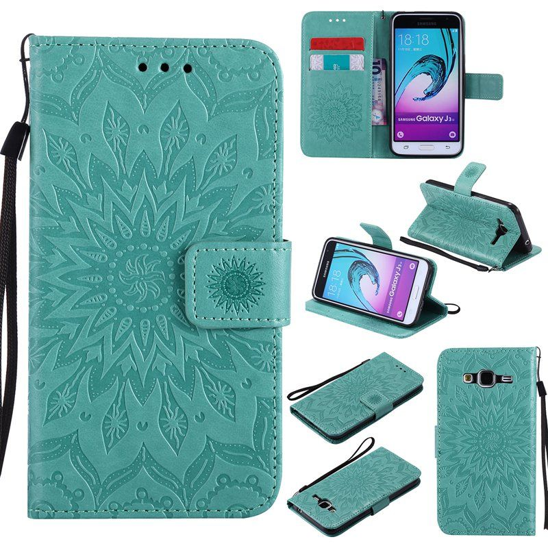 MuTouNiao Green Sun flower pattern PU Leather Wallet Stand Flip Case Cover Lines For Samsung Galaxy J3(2016) J310 Case