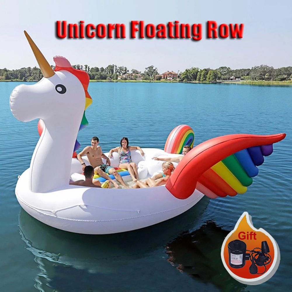 Factory directly sales PVC Giant Inflatable Unicorn Float Party Bird Island Big animal boat for 6-8persons