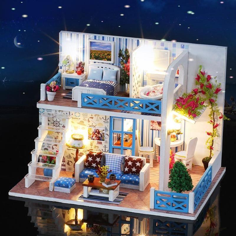 Miniature Doll House DIY Small Sea View House Wooden Hut Villa Assembly Model Helen Coast Gift Furniture Kids Birthday Xmas Gift
