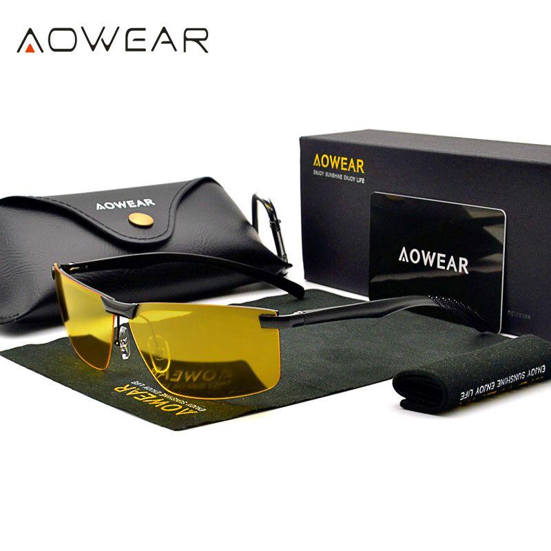 Hommes Vision nocturne lunettes lunettes HD vue nuit conduite lunettes hommes polarisé jaune lunettes de soleil pour pilote Oculos Gafas de sol