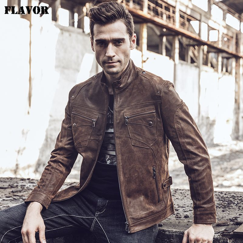 2017 New Men's Retro Real leather Bomber jacket Vintage Coat Brown Autumn Winter Genuine Leather Jacket