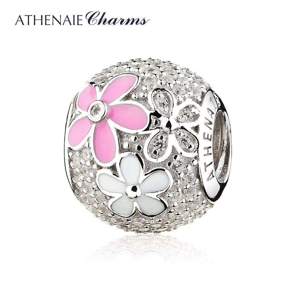 ATHENAIE 925 Sterling Silver Poetic Blooms Mixed Enamels Clear CZ Bead Charms for European Bracelets