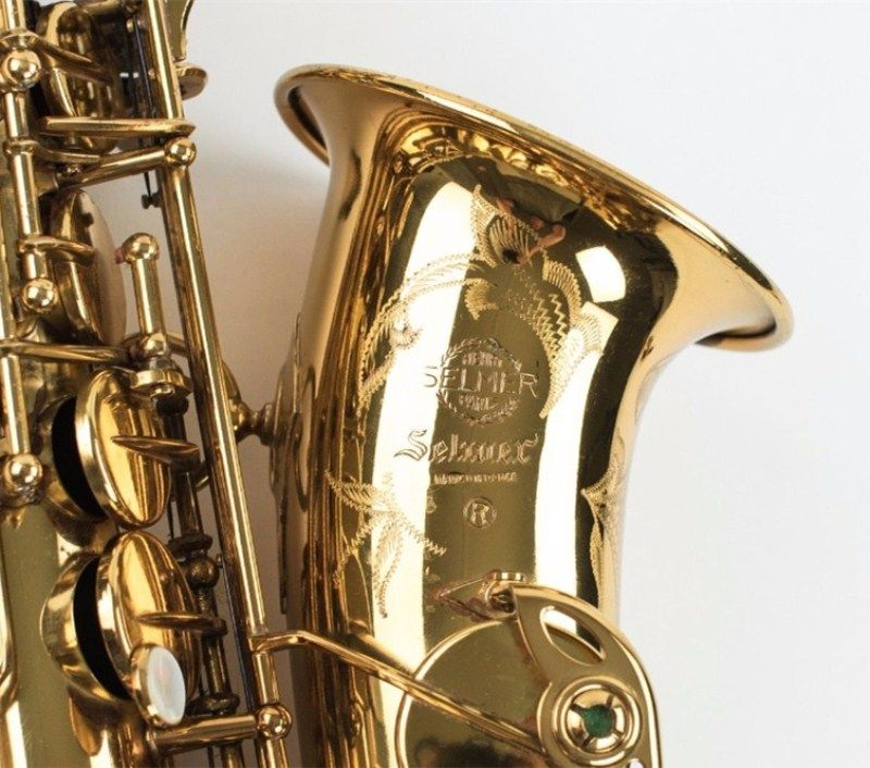 High quality New Selmer Gold Lacquer Alto Saxophone Instrument  Brass Sax Alto Musical Instrument Professional level FREE
