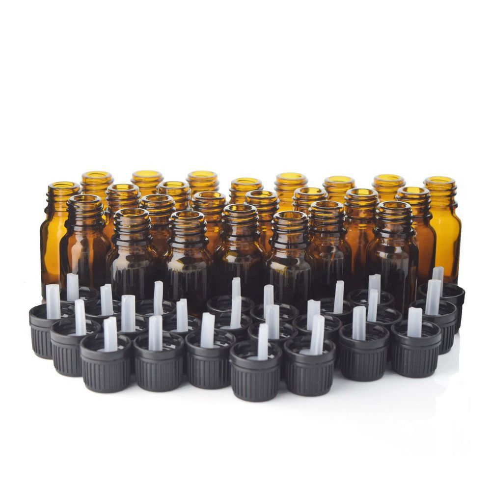 24pcs 1/3 Oz 10ml Empty Amber Glass Bottle Vials with euro dropper black tamper evident cap for essential oils aromatherapy