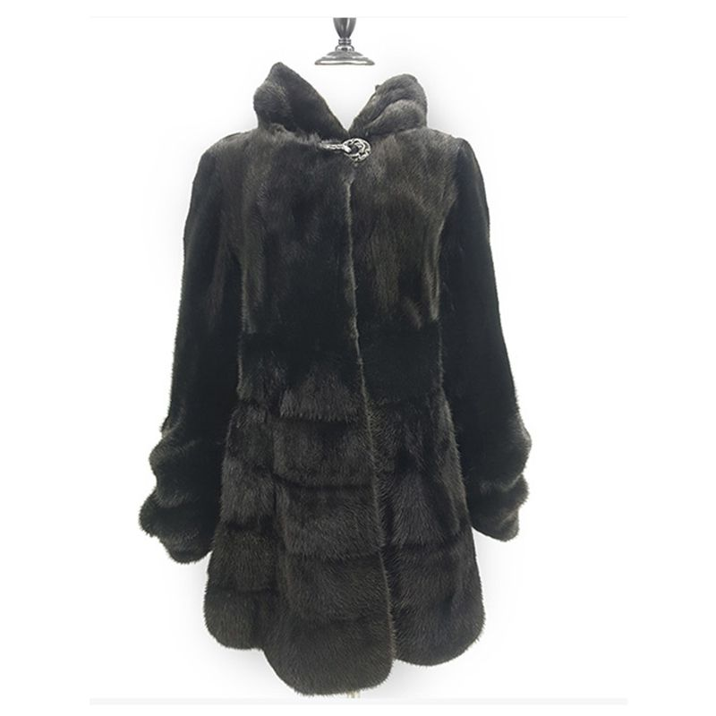 Luxury Genuine Mink Fur Coat Jacket with Hoody Slim Belt Winter Genuine Women Fur Outerwear Plus Size 3XL 4XL 5XL LF5168