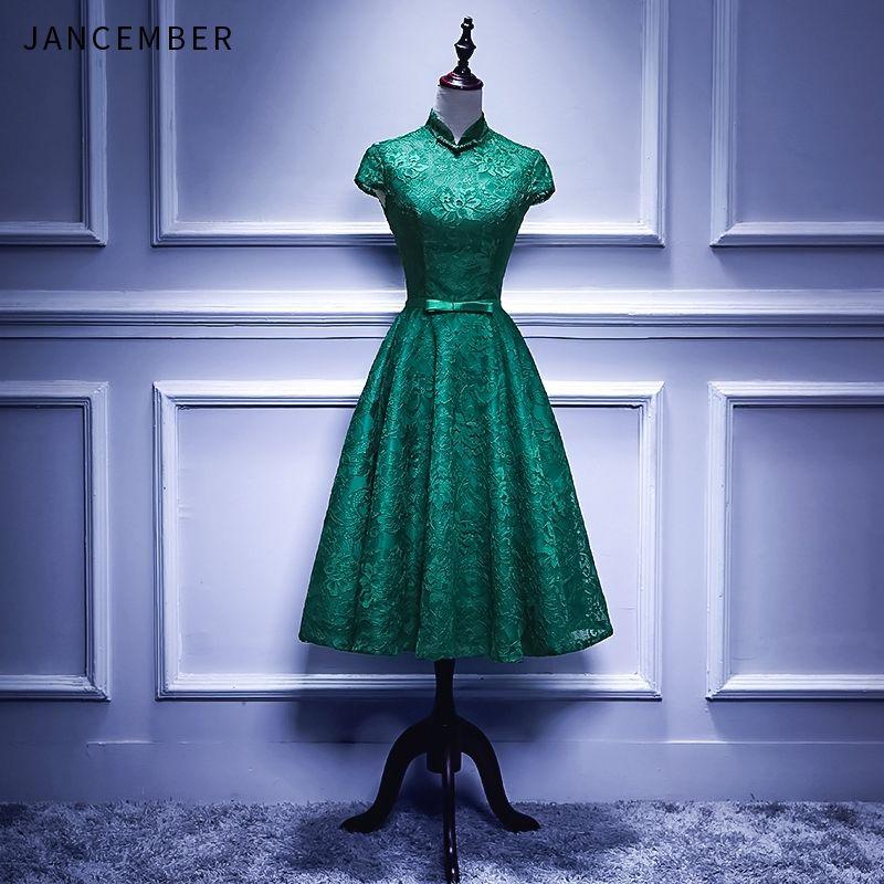 JANCEMBER Kurze Cocktail Kleider Dunkelgrün Spitze High Neck Zipper Zurück Elegante Kurzarm EINE Linie Formale Kleid Real Photo