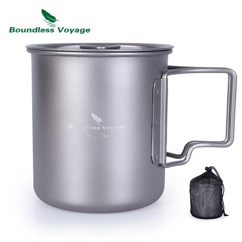 Voyage sans bornes 420 ml tasse en titane avec couvercle de tasse tasse de Camping tasse d'eau extérieure Ti1544B/Ti1518B