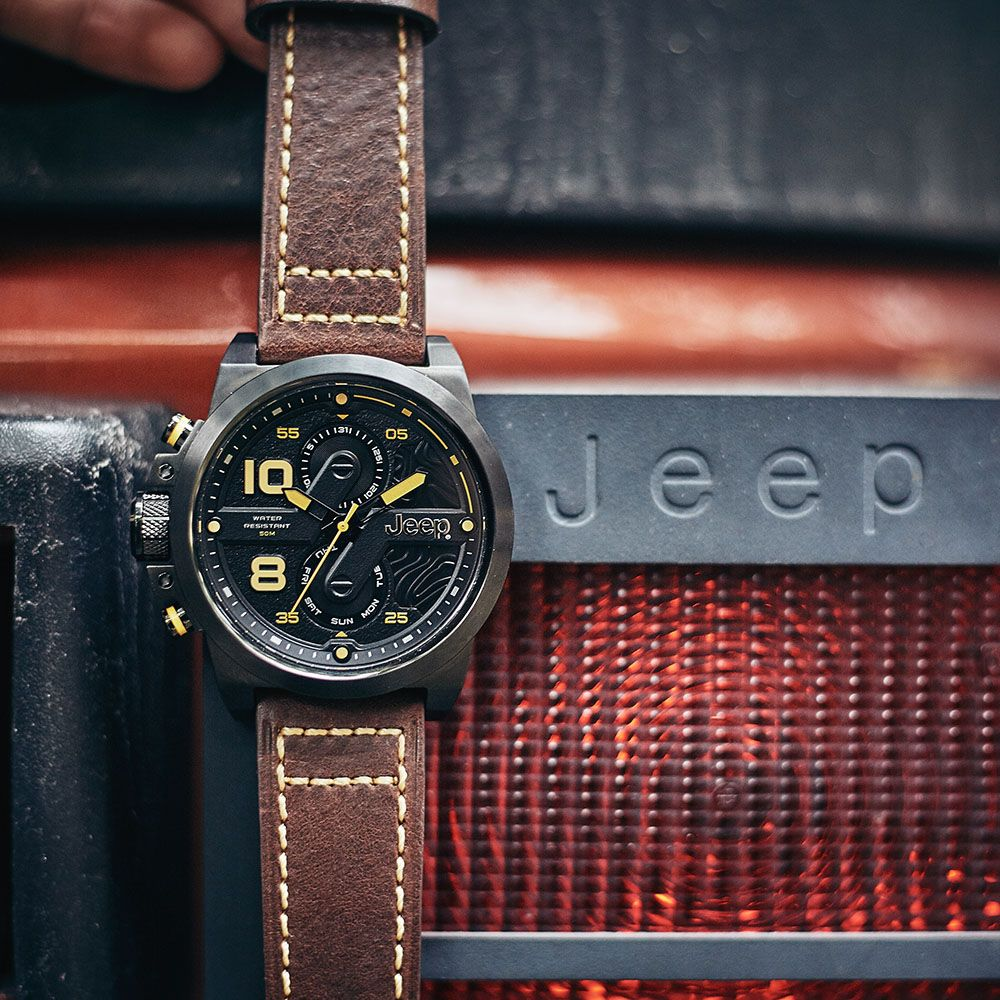 Jeep Mens Watches Quartz Leather Strap Outdoor Sports Wrangler Series Multifunctional Military Men Watches JPW67602