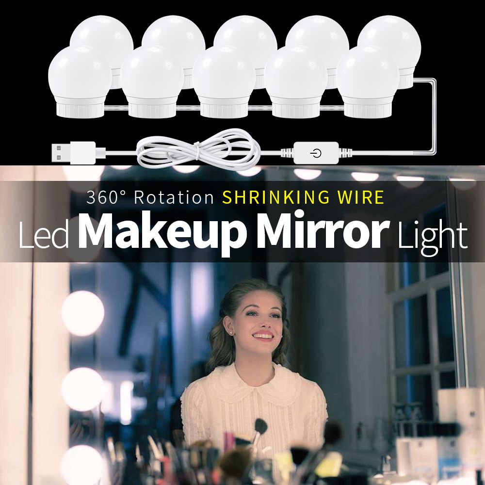CanLing USB LED 12V Makeup Lamp 6 10 14 Bulbs Kit For Dressing Table Stepless Dimmable Hollywood Vanity Mirror Light 12W 16W 20W