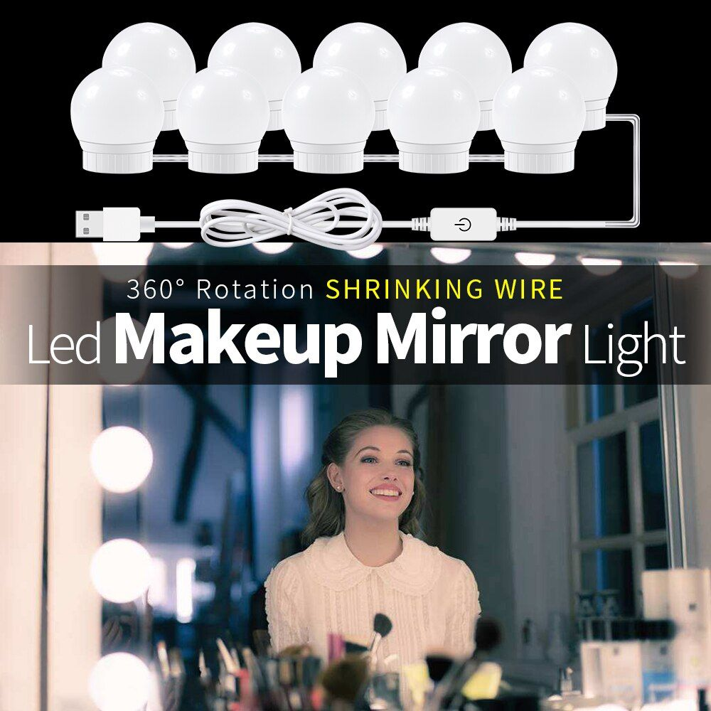 CanLing USB LED 12V Makeup Lamp Wall Light 6 10 14 Bulbs Kit For Dressing Table Stepless Dimmable Hollywood Vanity Mirror Light