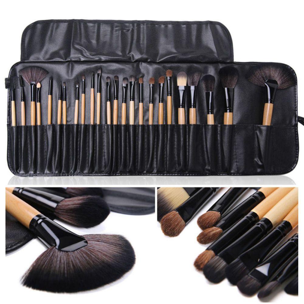 24 pièces Pinceaux De Maquillage Professionnel Fard À Paupières Cils Pinceaux De Maquillage Poudre Brocha Maquillaje avec Sac + Éponge Cosmétique Bouffée