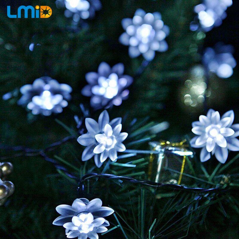 LMID LMID lampe solaire à LED extérieur étanche Lotus fleur décoration noël jardin vacances lumières à énergie solaire