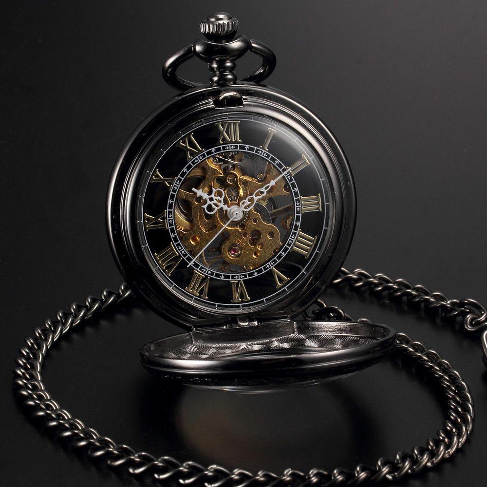 Мужские и женские стимпанк Скелет Механическая черный золото открытым лицом ретро кулон карманные часы