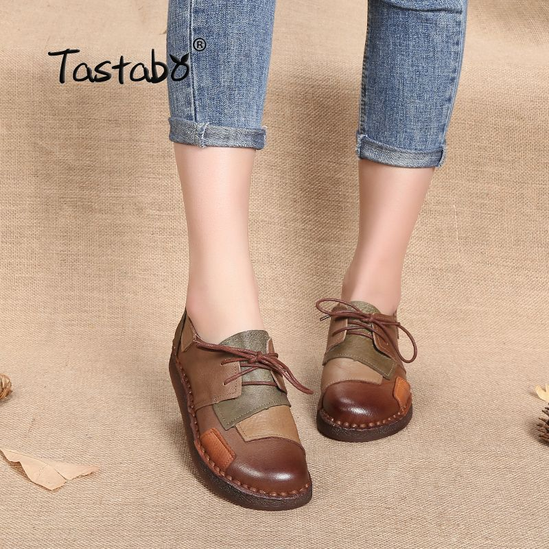 Tastabo Genuine Leather Flat Shoe Pregnant Women Shoe Mother Driving Shoe Female Moccasins Women Flats Hand-Sewing Shoes