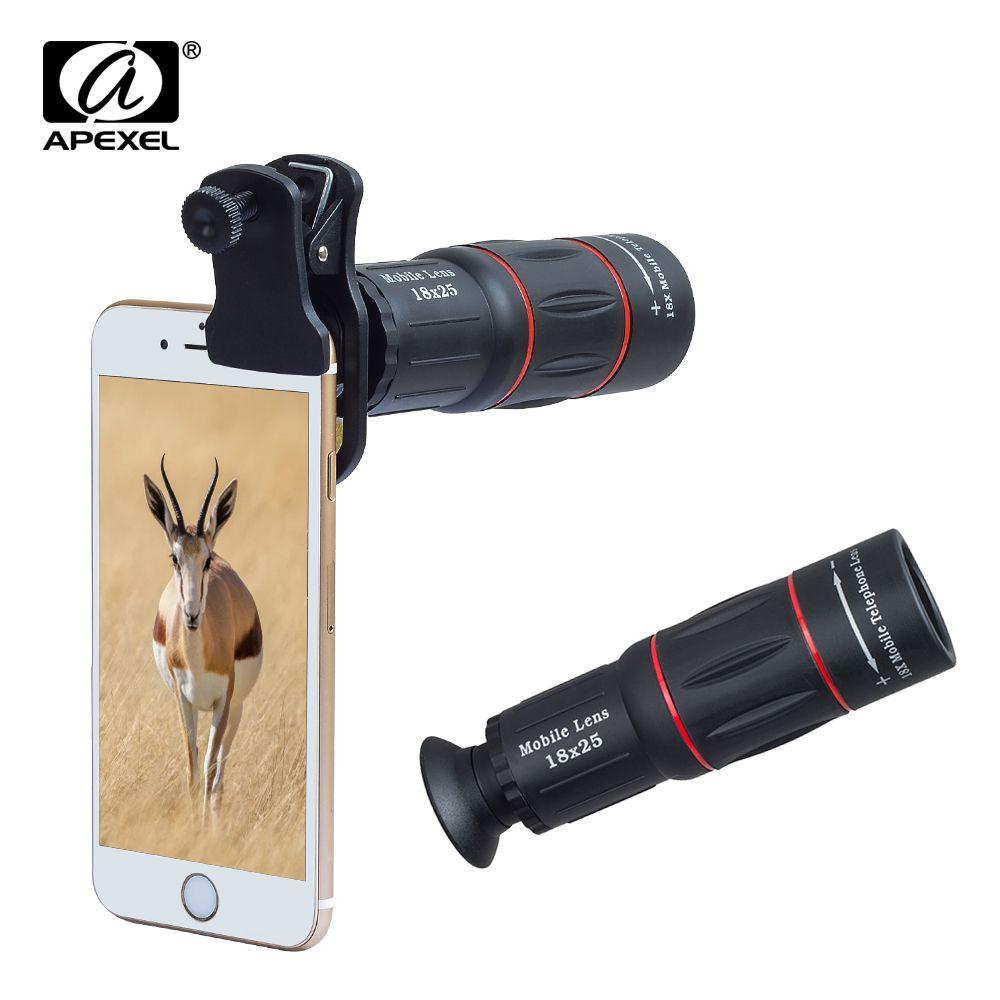 APEXEL Telefon Camera Lens universal 18X Télescope Zoom télescope Mobile Téléphone Objectif pour iPhone Xiaomi Smartphones APL-18XT