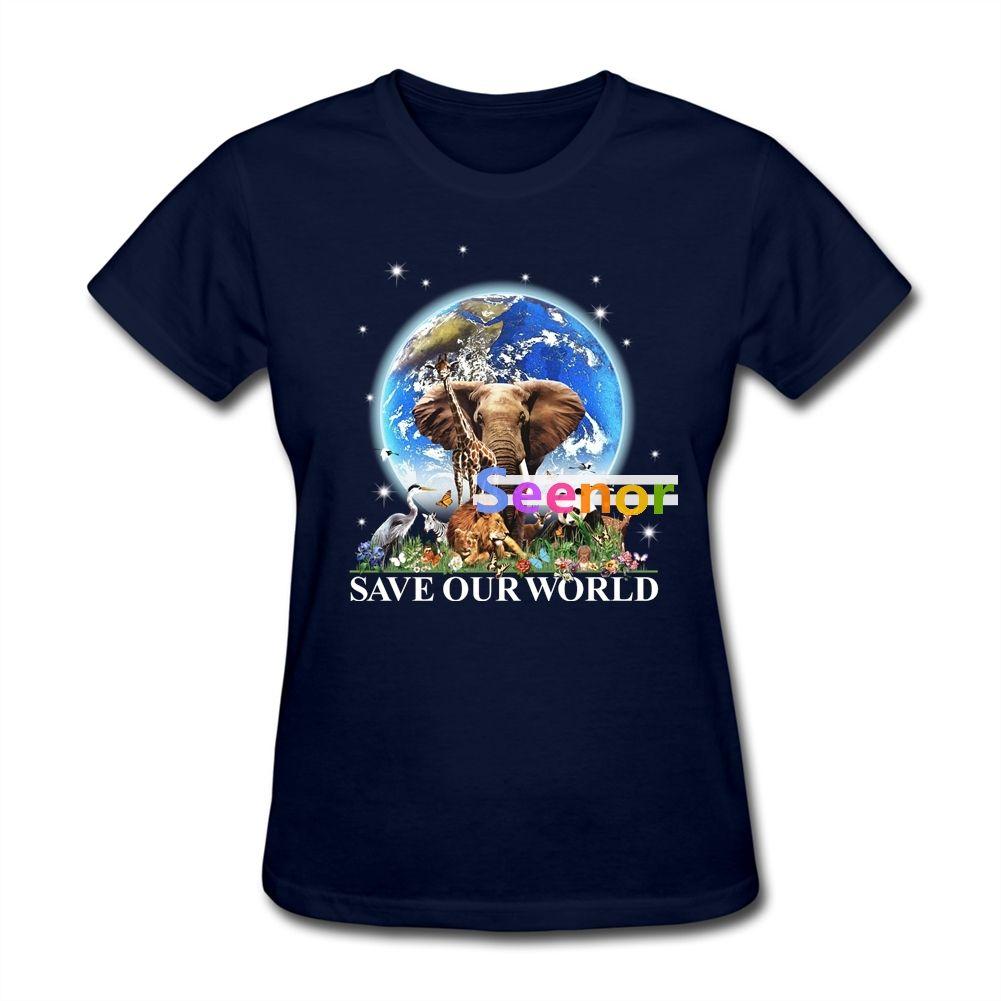 Printing Save Our World Women Gift's tshirt Casual tshirt Printer Women Yellow Clothing