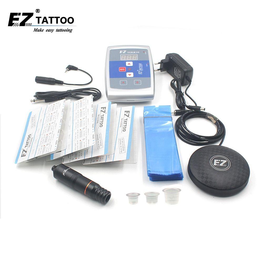 EZ Tattoo Supply Kits Filter V2 Pen With Revolution Cartridge Tattoo Needles Foot Switch Power Supply Ink Cups Tattoo kits