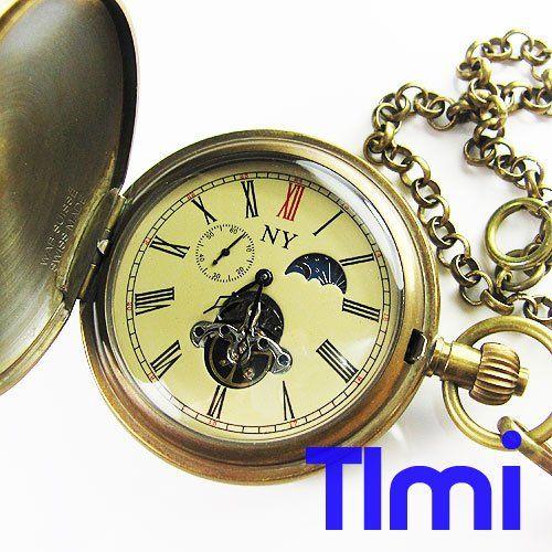 !! 100% античная латунь Moonphase Механические карманные часы