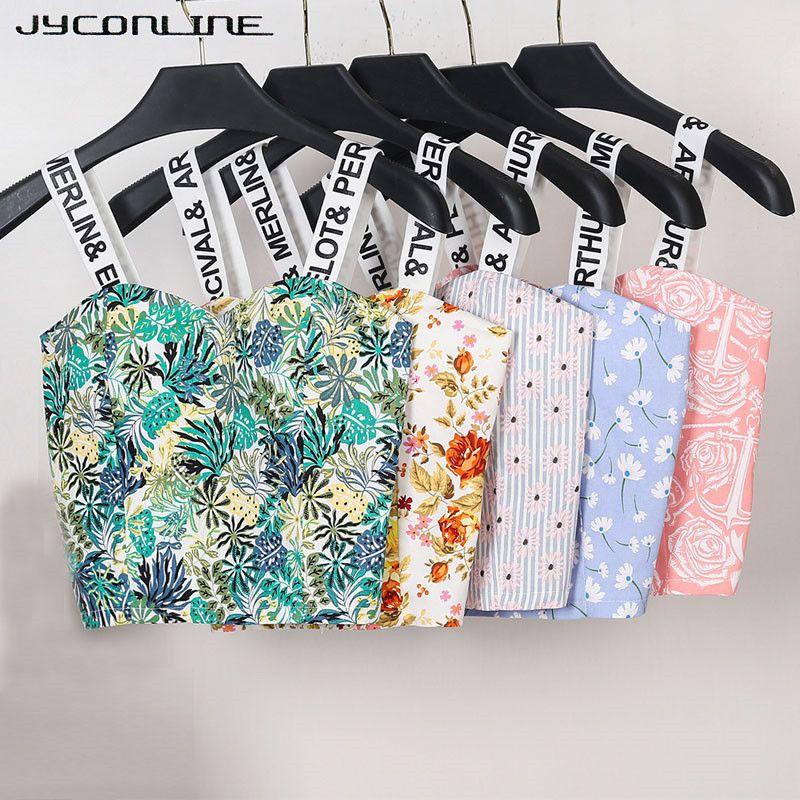 JYConline 2019 femmes sangle réservoirs haut court femme lettre imprimer été Bralette femmes Camisole tops à motifs floraux recadrée Feminino gilet