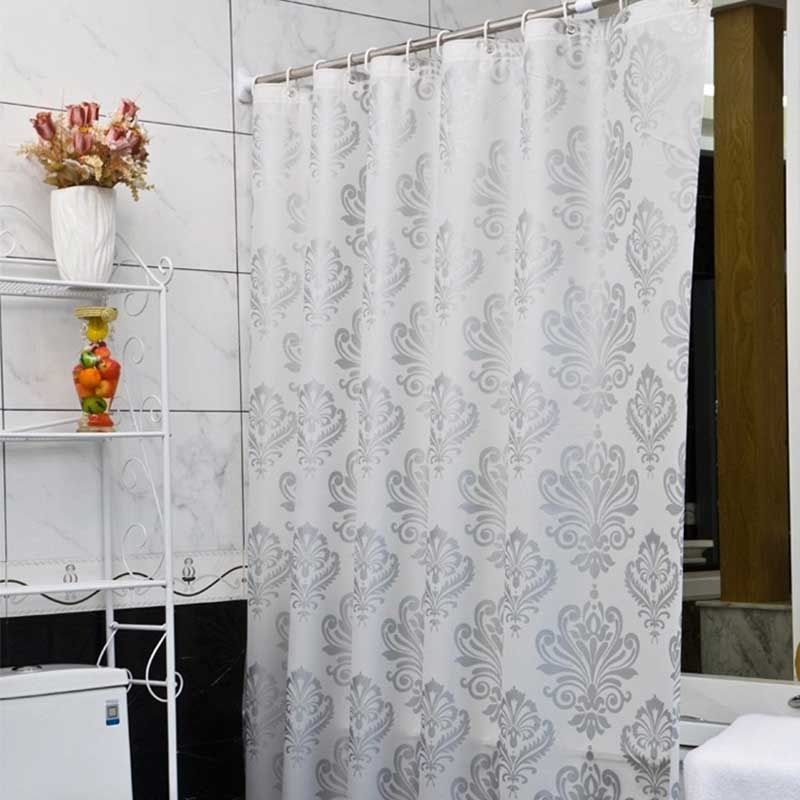 PEVA Fabric <font><b>Shower</b></font> Curtain with Hooks Waterproof Plastic Bath Screens Geometric Flowers Printing Eco-friendly Bathroom Curtains