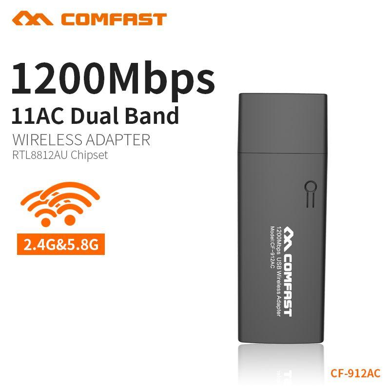 COMFAST 1200mbps Wifi Adapter 5.8G + 2.4G Usb 3.0 Port Wireless Network Card PC Wifi Receiver Wifi Dongle 802.11ac CF-912AC