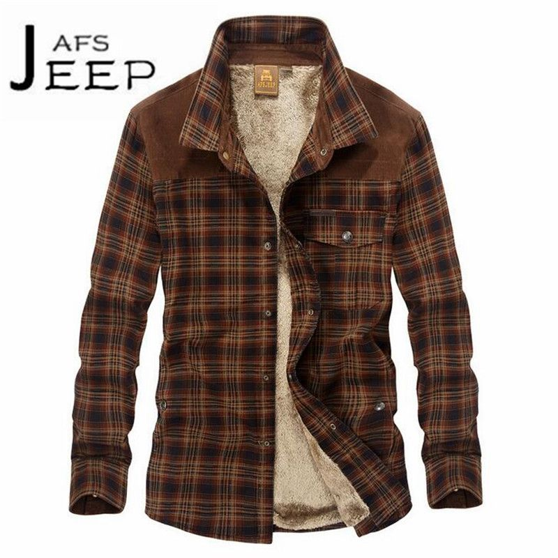 JI PU Brown Collar Winter Fashion Keep Warmly cachemira Lining Man's Thickness shirt,Patchwork <font><b>Leisure</b></font> Cardigan Warm Outwear