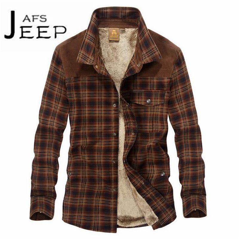 JI PU Brown Collar Winter Fashion Keep Warmly cachemira Lining Man's Thickness shirt,Patchwork Leisure Cardigan Warm Outwear