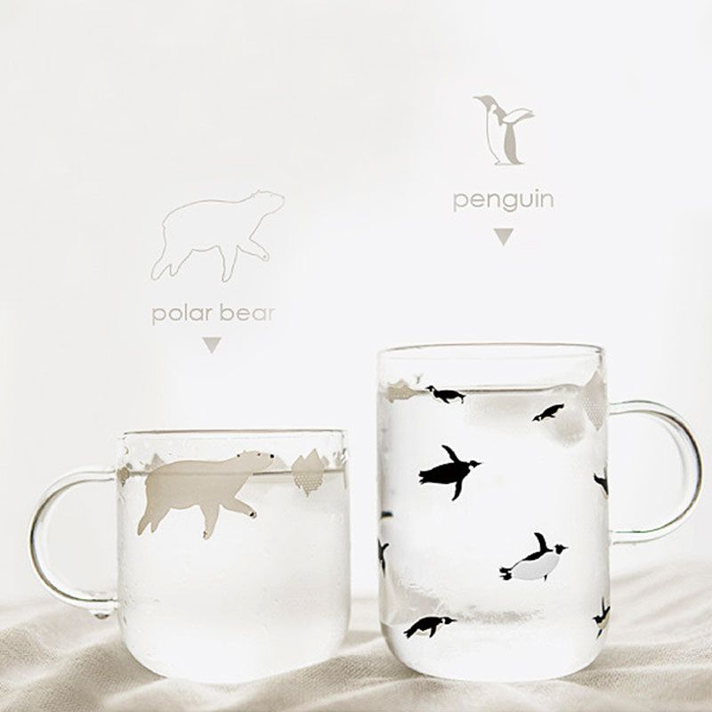Fresh Handmade Glass Mugs Polar Bear or Penguin Style Coffee Cups with Handle Mornin Glass Mug SH99
