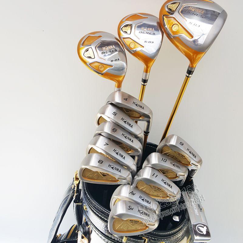 New HONMA Golf clubs set S-03 4 sterne Compelete club set Golf Fahrer + 3/5 holz + eisen + putter und Graphit golfschaft Geben verschiffen