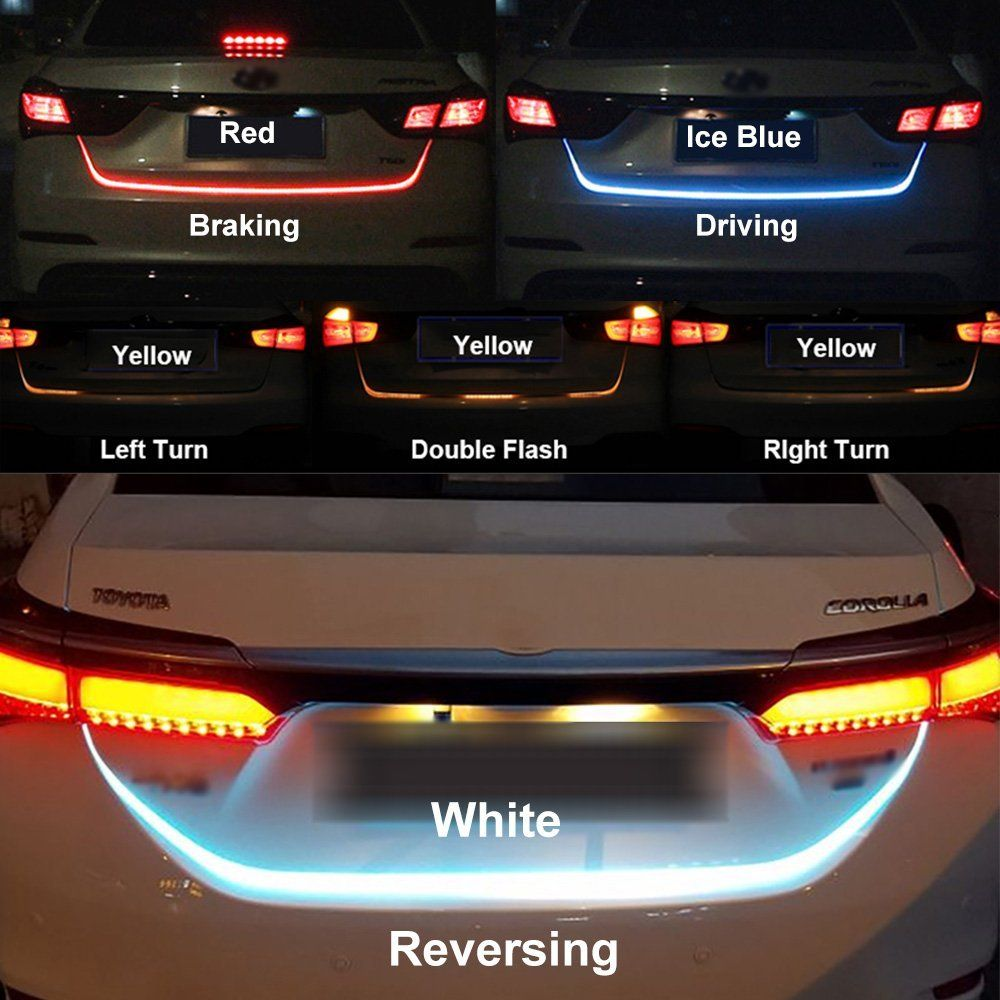 SITAILE Car LED Strip Lighting Rear Trunk <font><b>Tail</b></font> Light Dynamic Streamer Brake Turn Signal Reverse Leds Warning Light Signal Lamp