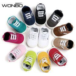 WONBO banda nuevo llega bebé mocasín primeros caminante del bebé lona ShoesSoft Bottom antideslizante moda recién nacido bebés zapatos