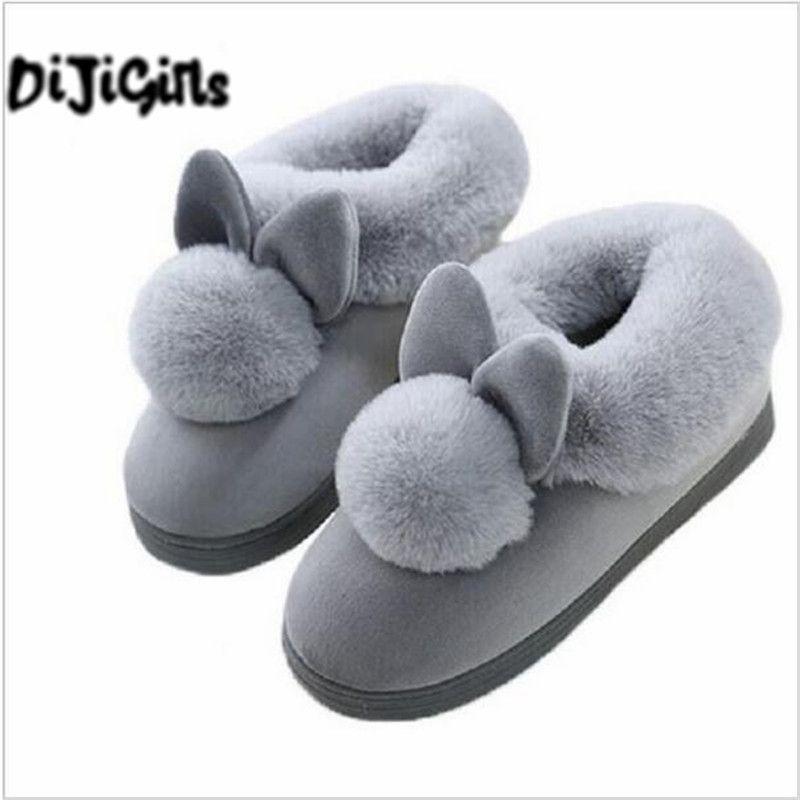 De las mujeres Encantadoras Orejas de Conejo Caseros Suaves Botas Calientes Del Algodón de Las Mujeres Botas de invierno Casual Zapatos Caseros de Interior botines Mujer Botas Mujer
