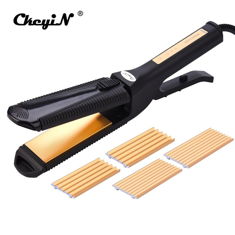 3 in 1 Multifunctional Hair Straightener Curling Corrugated Iron Interchangeable Plate Fast Hair Curler Crimper Rollers Curl S50