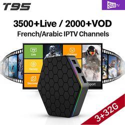 T95Z plus S912 3 GB 32 GB Android 7.1 Smart TV Box SUBTV IPTV 3500 Canaux Turc Allemagne EX-YU L'albanie Arabe Français IPTV Boîte