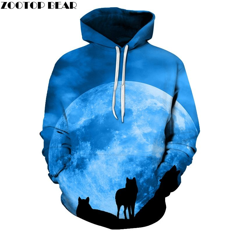 <font><b>Wolf</b></font> Printed Sweathsirts Men Hoodies Galaxy Hoody Hot Sale Tracksuits Anime Coat Autumn 6XL Pullover Fashion Clothing Boy Unisex