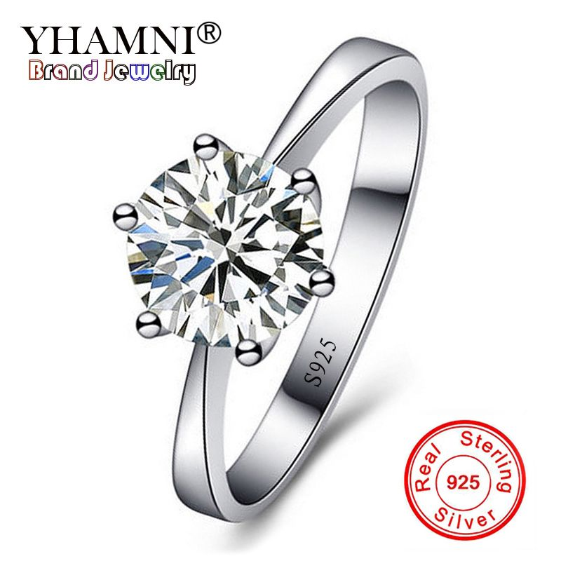 YHAMNI Original Fine Jewelry Real Natural 925 Silver Wedding Rings Solitaire 8mm 2Ct CZ Zircon Engagement Rings for Women JD925