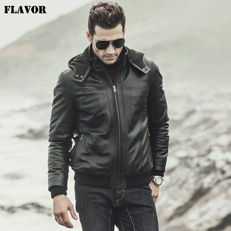 FLAVOR 2017 New winter Men's Real sheepskin Leather Jacket Hooded Motorcycle coat Lambskin Genuine Leather Jacket