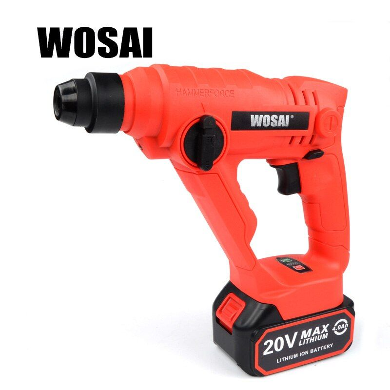 WOSAI 20V Lithium Battery Rotary Hammer Power Tool Cordless Hammer Electric Drill