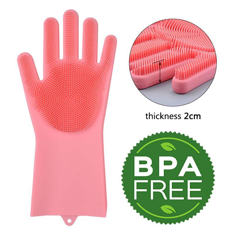 Cuisine Silicone gants de nettoyage Magique Plat En Silicone gants de lavage Facile Ménage tampon en Silicone En Caoutchouc gants de nettoyage