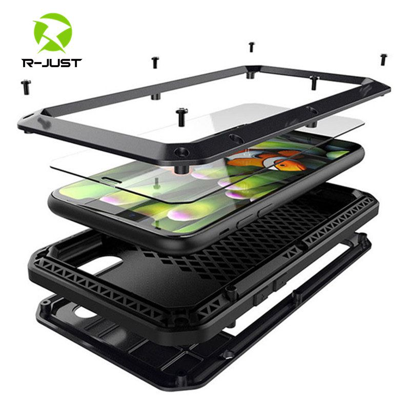 Verre trempé + Métal Aluminium armure téléphone étui pour iphone 11 Pro XS MAX XR X 7 8 6 6S Plus 5 S 5C 5 SE Complet Housse Antichoc