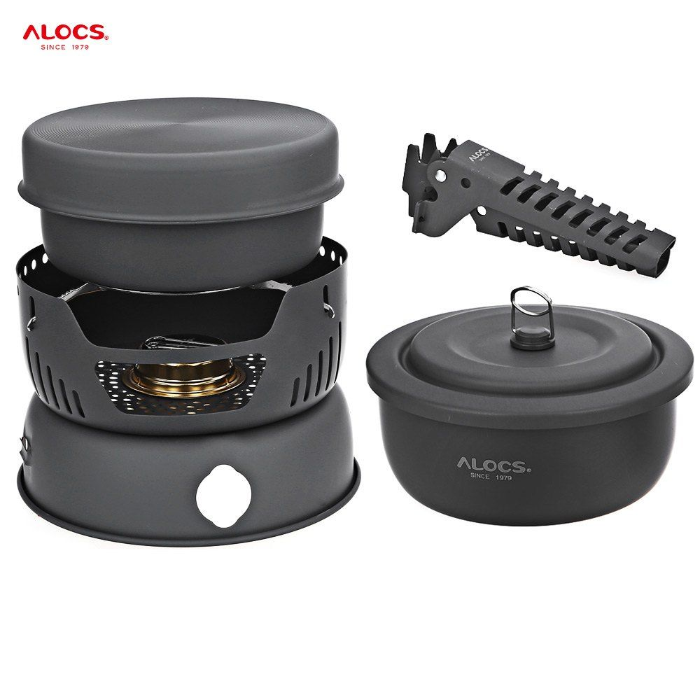 ALOCS CW-C05 Outdoor Portable 10pcs travel tableware set camping Cookware bowl sets with pan gripper pot stove for picnic BBQ