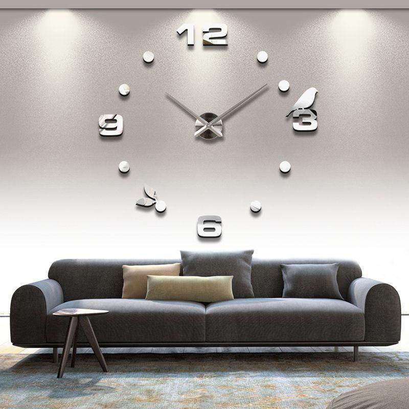 2019 livraison gratuite nouveau réel métal 3d bricolage acrylique miroir horloge murale montre horloges décoration de la maison moderne aiguille quartz autocollants