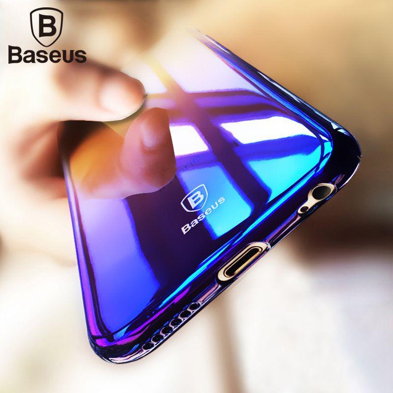 Baseus Pour iPhone 6 s 6 Cas De Luxe Ultra Mince En Plastique Dur Cas pour Coque iPhone 6 s Plus 6 Plus Cas Bule Ray Lumière Couverture