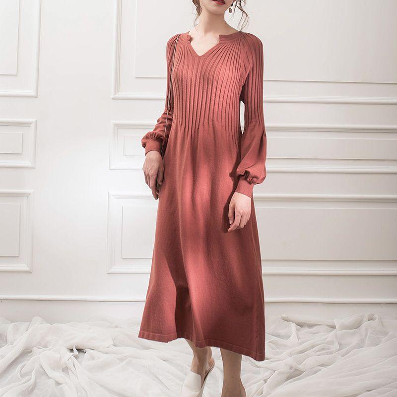 Stricken kleid v-ausschnitt langarm einfarbig asic kleid mori mädchen 2018 herbst