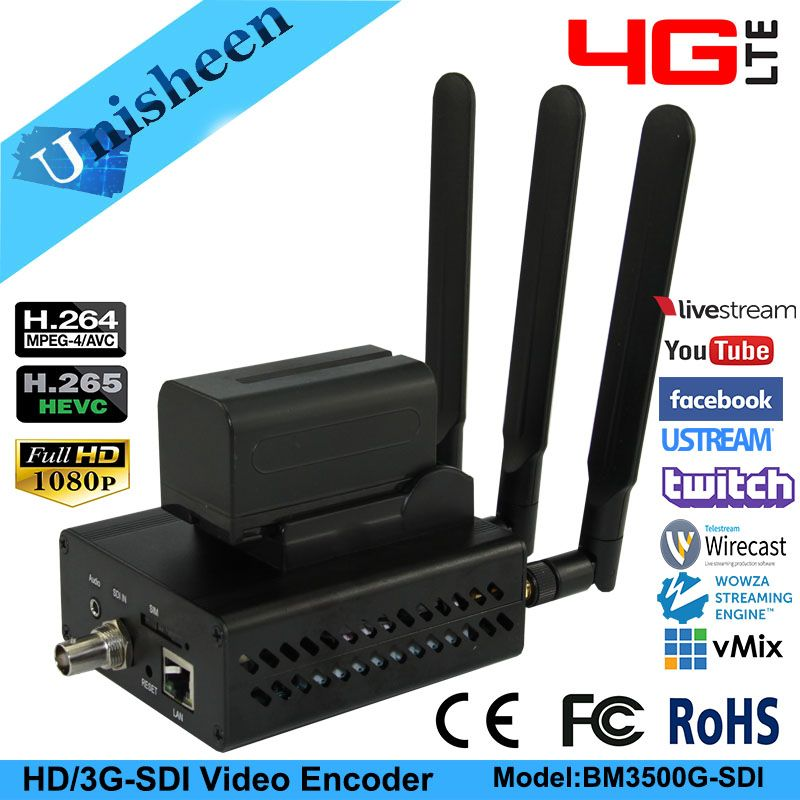4G Stream H.265 wifi SDI Video Encoder SDI Transmitter ip encoder live Broadcast encoder wireless H264 iptv encoder