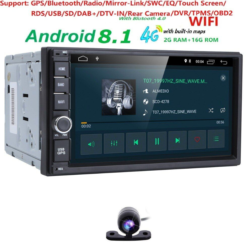 Universal 2din car radio Android 8.1 for Nissan Car NO-DVD player GPS Wifi BT 2GB RAM 16GB ROM 4G Flash FREE MAP LTE DAB Network