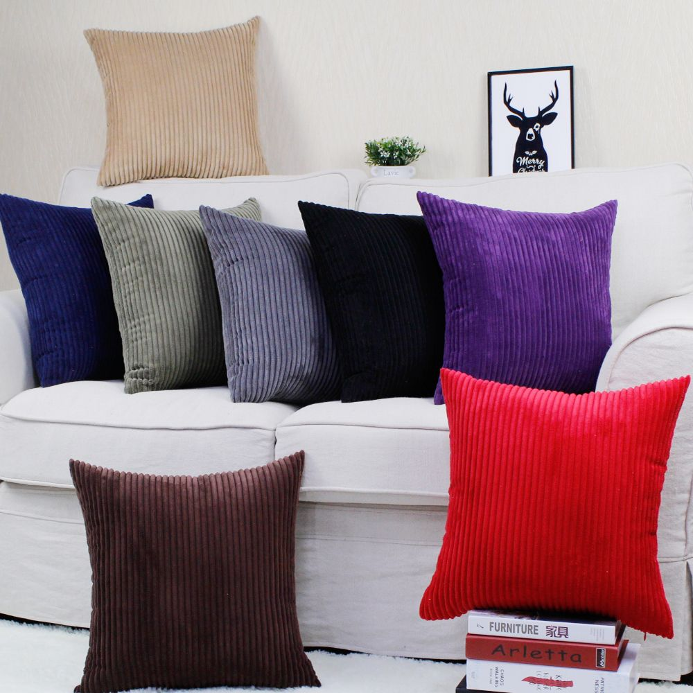 Housse de coussin de canapé rayure velours côtelé 30x45/40x40/45x45/40x60/50x50/55x55/60x60cm taie d'oreiller décorative maison taie d'oreiller