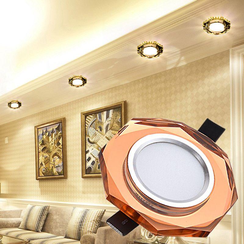 LAIMAIK cristal plafonnier 3W AC90-260V LED européenne cristal lampe allée couloir lumière porche lampe Hall éclairage lampe d'angle