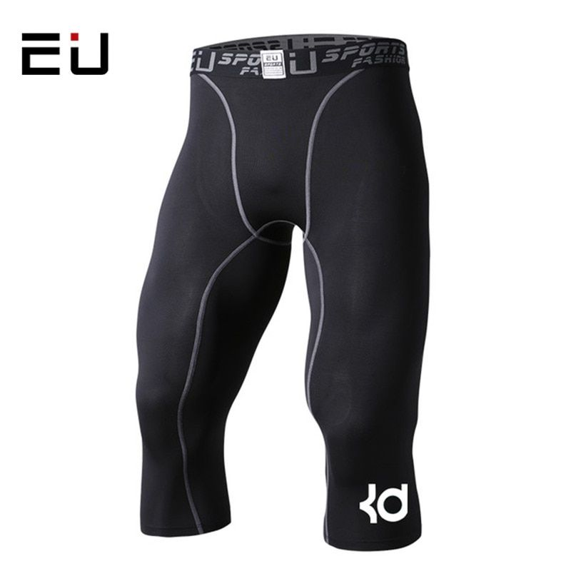 Homme Collants De Compression 3/4 Short Sport Serré Noir Fitness Basket-Ball En Cours D'exécution Jogging Court Legging Slim Ajustement Short de Course